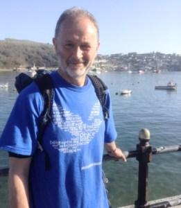 Paul Hains walking  the Saints Way in Cornwal