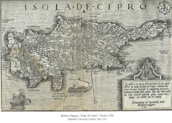 Map by Mattheo Pagano, ''Isola di Cipro''. Venice 153