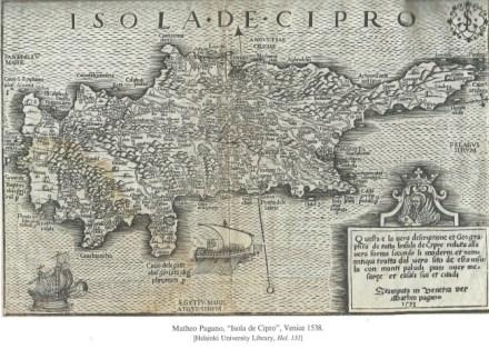 Map by Mattheo Pagano, ''Isola di Cipro''. Venice 153
