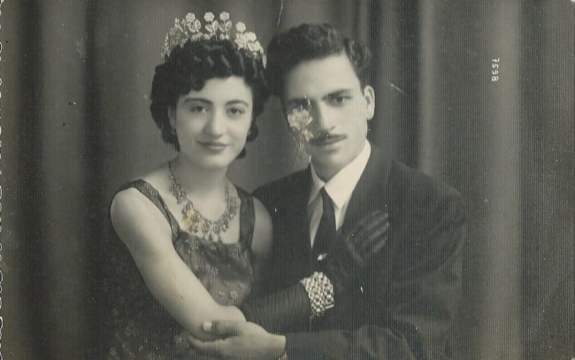 Necmi Ali Kaya and Perihan on their wedding day