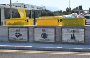 Şah Marketplace plastic bag recycling bins next to the car park