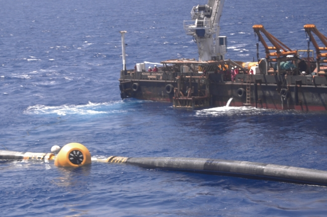 The pipe is joined and floats free