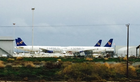 Cyprus Airways Airbus Fleet parked on the old ramp at Larnaca Airport - afternoon of January 10th 2015
