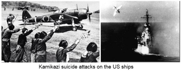 Kamikaze attacks on the US ships