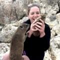 Samantha with a Rock Hyrax