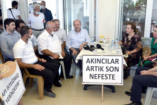 Prime Minister Ersin Tatar and his family join the village meeting