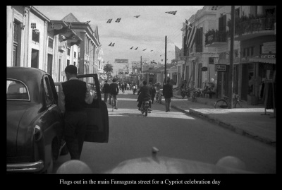 Flags out in Famagusta main street for Cypriot Celebration day