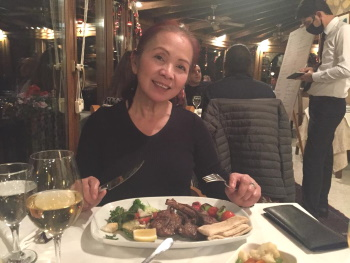 Weng with her huge plate of Lamb Chops