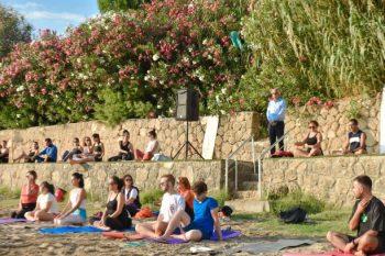 Yoga at sunset on Kervansaray public beach (1)