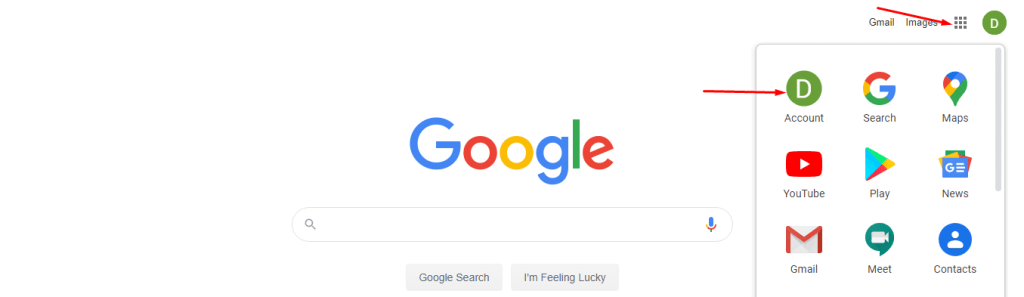 google gear icon and account signin