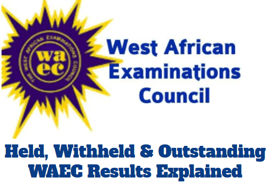 meaning of held withhed and outstanding waec result