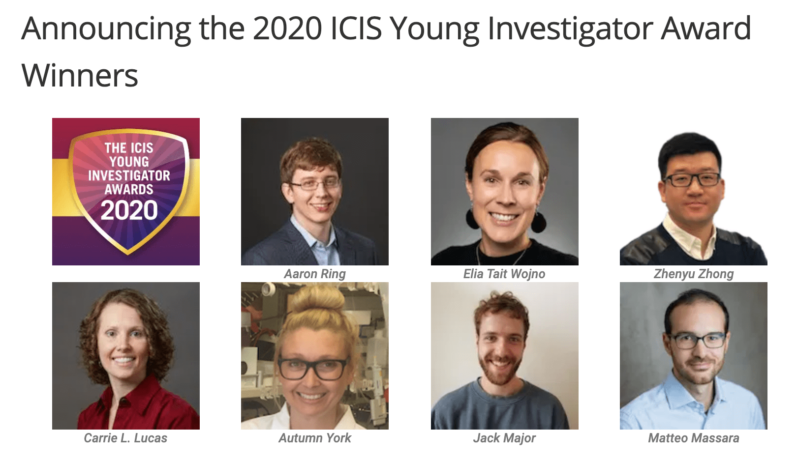 Announcing the 2020 ICIS Young Investigator Award Winners