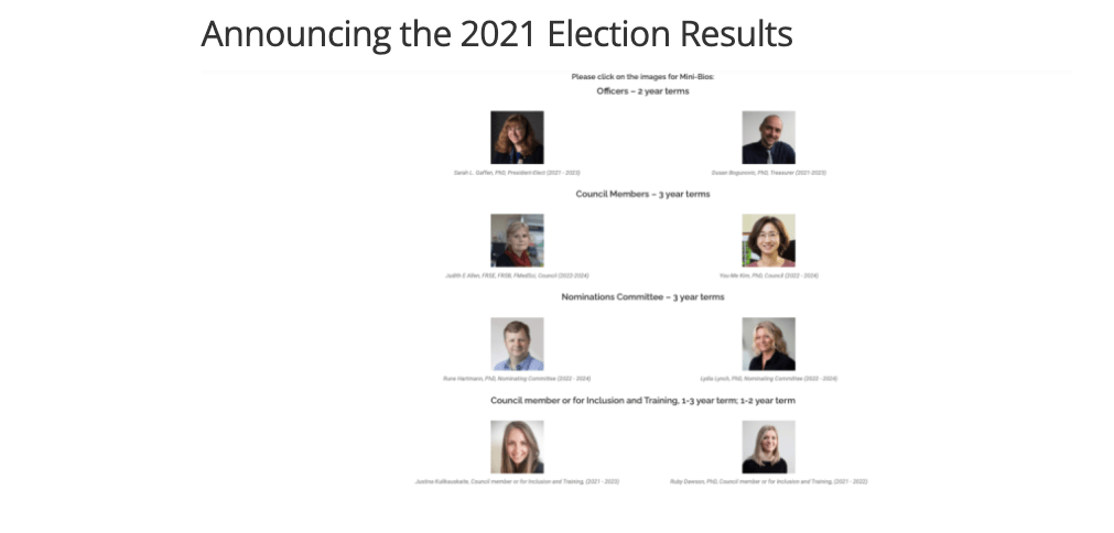 Announcing the 2021 Election Results