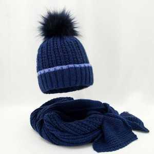 zimowy-komplet-damski-czapka-z-pomponem-szalik-granatowy