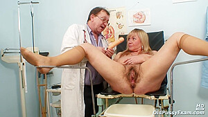 Czech Blonde Granny Offers Her Hairy Pussy To Her Gynecologist, Because He Knows Exactly What To Do