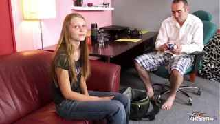 Skinny Brunette Chick Sandra Debuts on Casting Couch – Fake Shooting