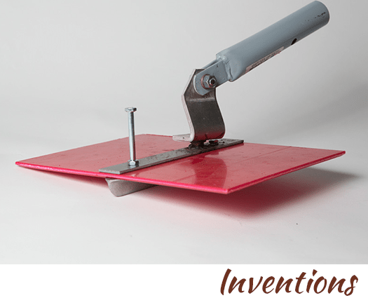 the plasteek groover concrete finishing tool by artist, designer and inventor John Czegledi