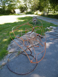 a unique patina metal sculpture by artist, inventor and craftsman John Czegledi from Comox Valley BC