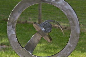 stainless metal abstract circle art by Courtenay BC artist and craftsman John Czegledi