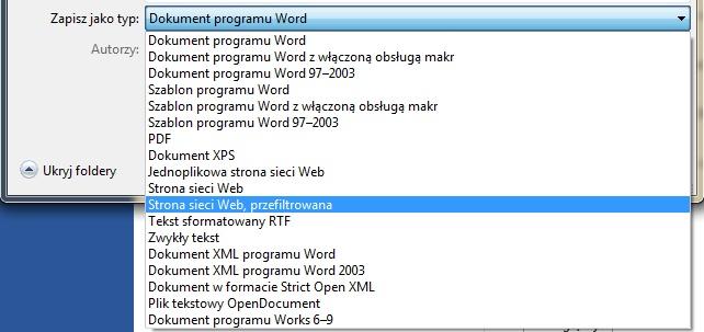 MS Word 2007 - zapisz jako