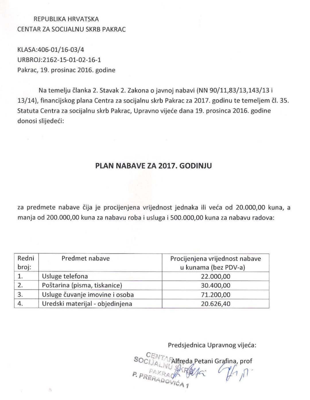 Plan nabave Centra za socijalnu skrb Pakrac za 2017. godinu