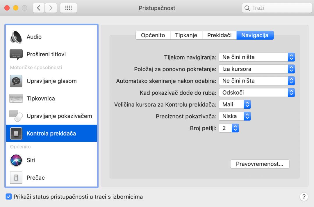 Postavke pristupačnosti iMac modul Kontrola prekidača - Navigacija
