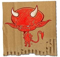 devil on brown paper