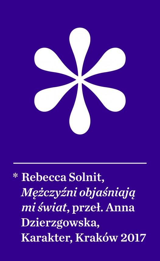 """Okładka książki """"Mężczyźni objaśniają świat"""" Rebecci Solnit."""