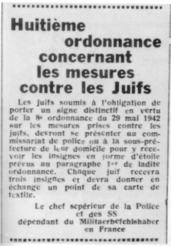 Coupure de presse : huitième ordonnance concernant les mesures contre les Juifs, signé du chef supérieur de la Police et des SS