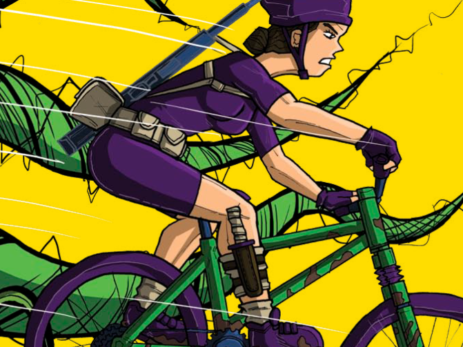 Biker gal with carnivorous plants. From a comic book series I created advertising bicycle maintenance products.