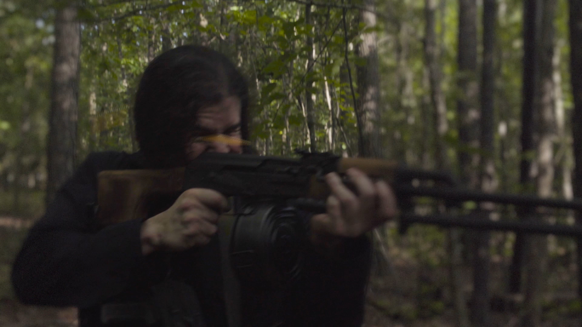 From the sci-fi short film Fringe Territory: Salvage Mission One. Quinton fires the RPK light machine gun.