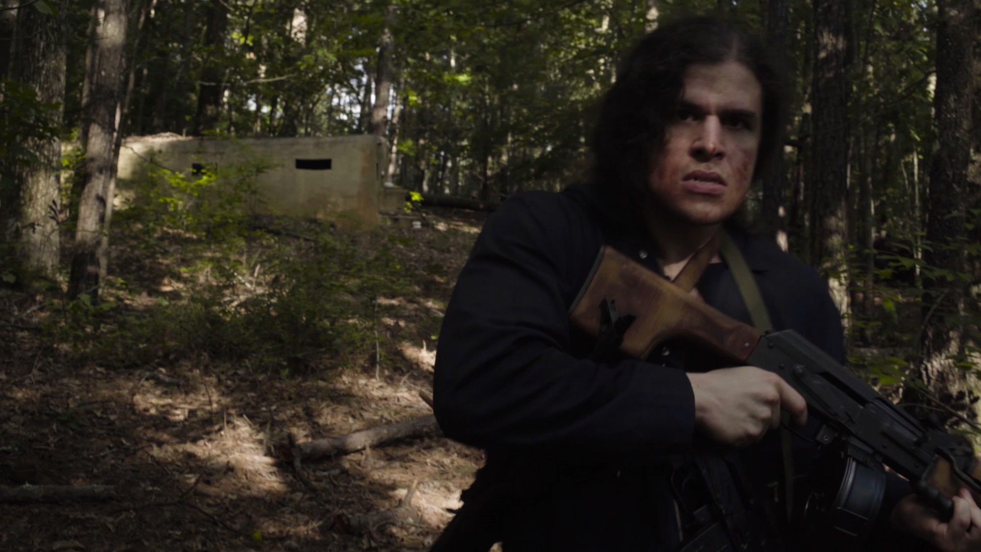 From the sci-fi short film Fringe Territory: Salvage Mission One. Quinton treks with the RPK light machine gun.