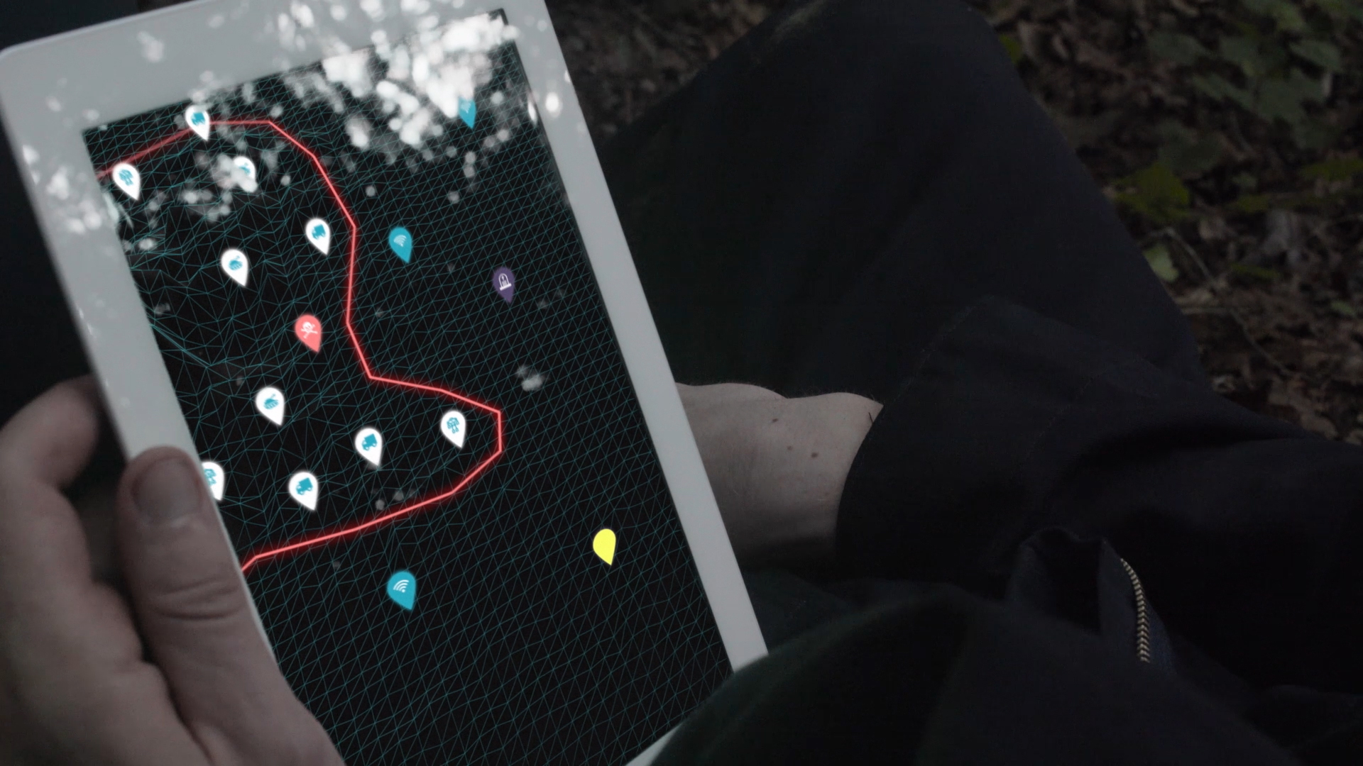 From the sci-fi short film Fringe Territory: Salvage Mission One. Quinton looks at the tablet