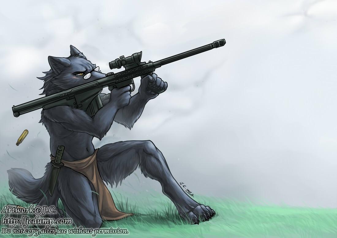 White Wolf Furry Gun