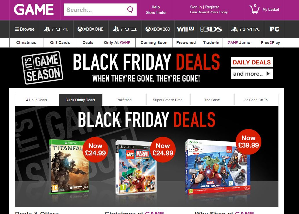 Black Friday GAME Begins Deals On Xbox One PS4 PC And