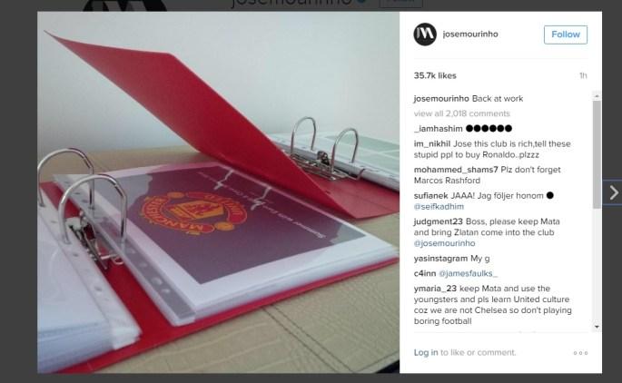 Jose Mourinho's Instagram post