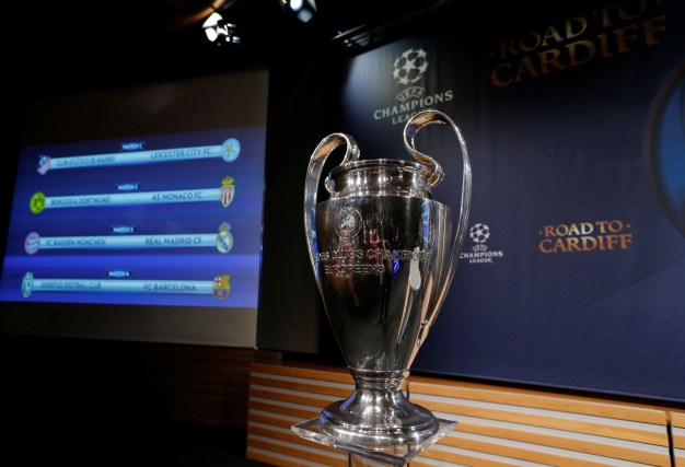 Champions League trophy  Uefa Champions League semi-final draw champions league trophy