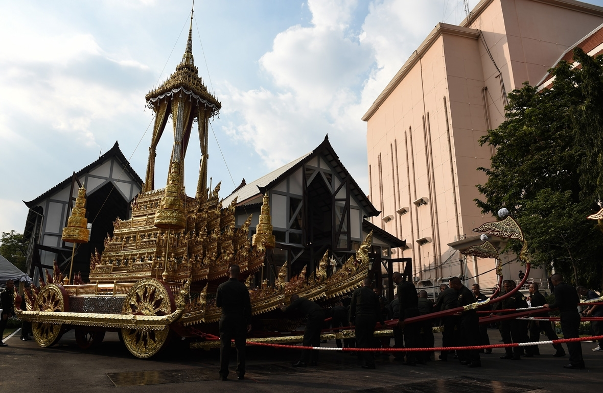 Thailand King Bhumibol funeral  Thailand's elaborate golden cremation complex for King Bhumibol Adulyadej who died a year ago thailand king bhumibol funeral