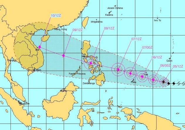 Map Philippines Typhoon Over