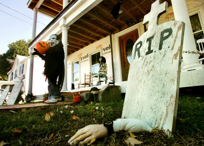 A Halloween decoration put up by a New York homeowner caused his mailman to stop delivering