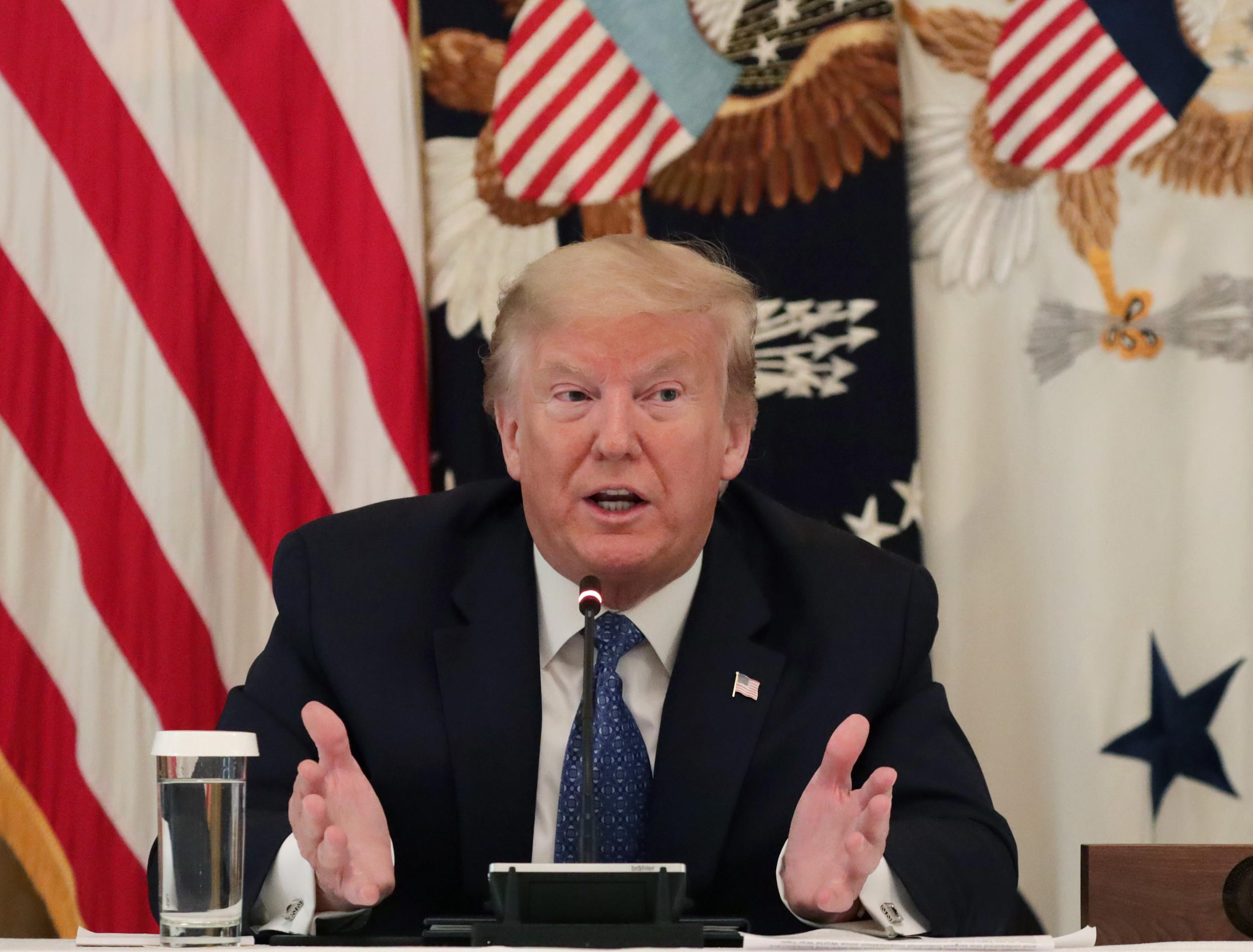 Treasury Secretary Steve Mnuchin Shows Trump Sample
