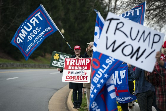 Supporters gather outside Trump National Golf Club