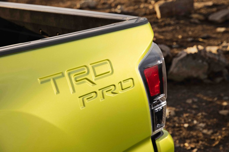 2022 Toyota Tacoma TRD Pro badging stamped
