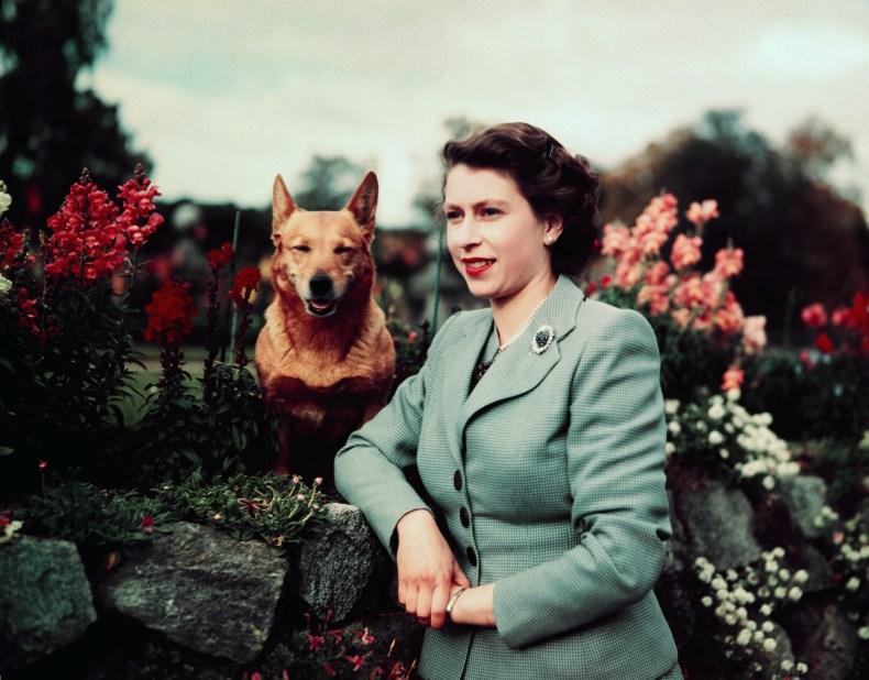 Queen Elizabeth II and Corgi at Balmoral