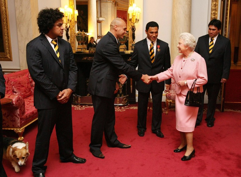 Queen Elizabeth With New Zealand Rugby Players