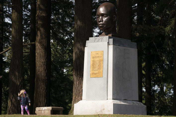 White woman vandalism York black monument video