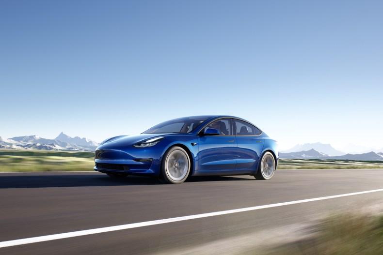 2020 Tesla Model 3 sedan blue