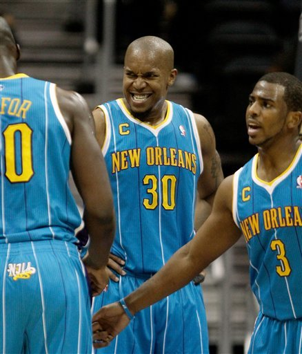 New Orleans Hornets Power Forward David West (30) Reacts