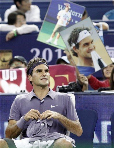 Roger Federer Of Switzerland Looks