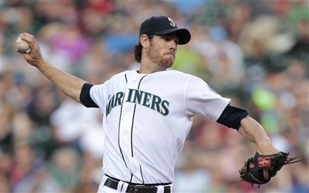 Seattle Mariners Starting Pitcher Doug Fister Throws